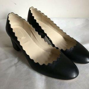 CHLOE Black Leather Mid Heel Scallop Pumps Sz 38